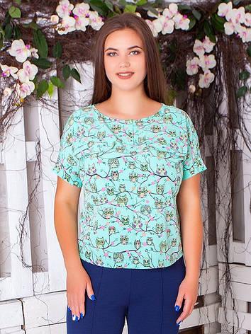 Летняя блузка больших размеров из софта с удлиненной спинкой, фото 2