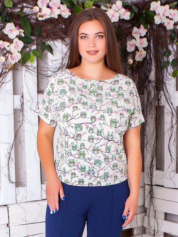 Летняя блузка с коротким рукавом для полных женщин