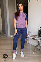 Женский вязаный костюм сиреневого цвета с коротким рукавом с люрексом. Модель 24903., фото 1