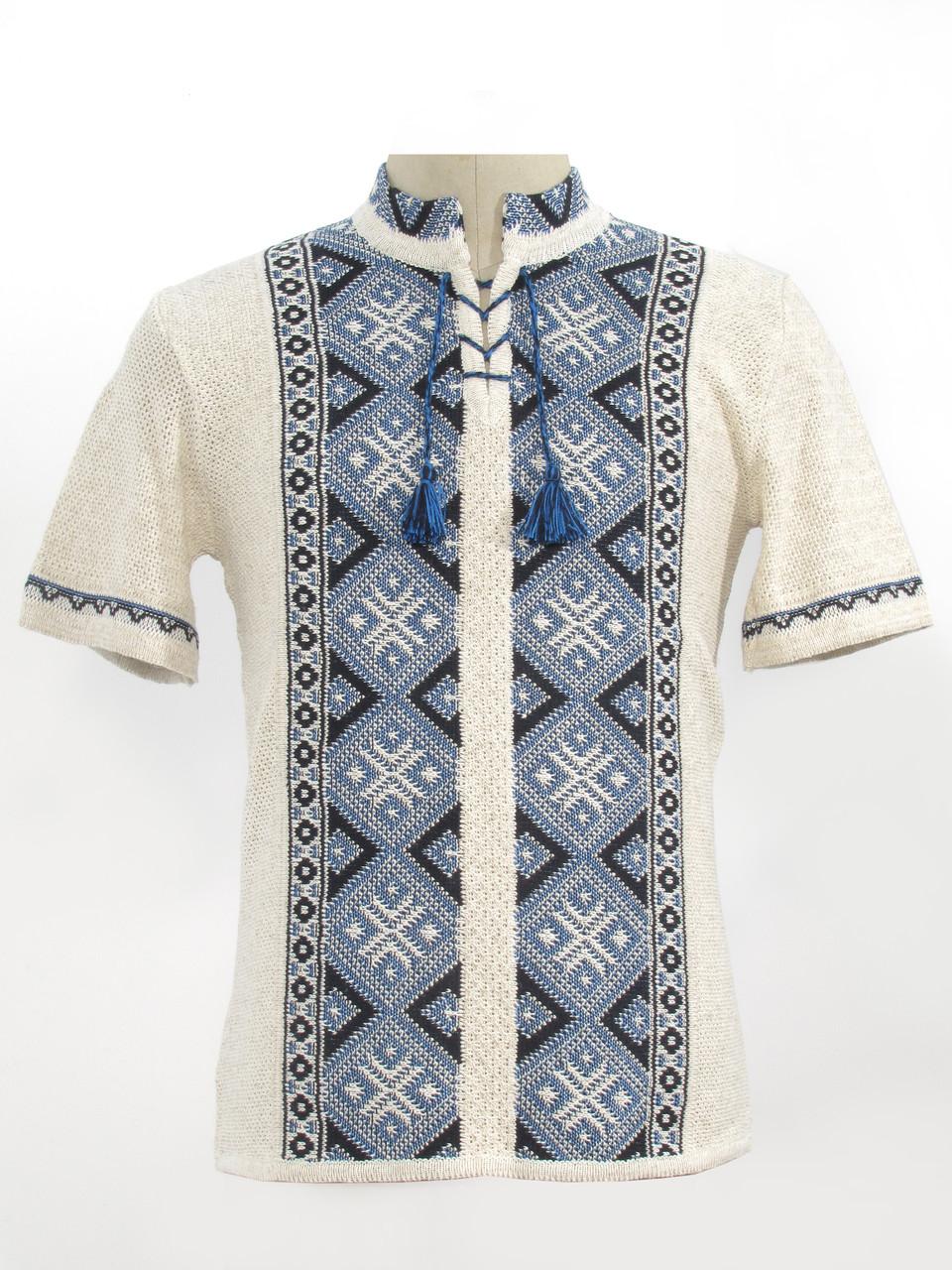 Вязаная вышиванка с коротким рукавом