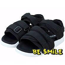 Сандалии женские Adidas Originals Adilette Sandal Black/White босоножки (черные-белые) Top replic