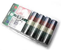 Покерный набор на 200 фишек с номиналом + 2 колоды карт и сукно