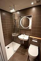Зеркало для ванной комнаты с LED подсветкой 800*700h с рисунком D80 с включателем кнопкой
