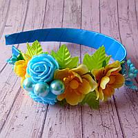 Обруч Нежные розы (сине-желтый), фото 1
