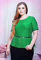 Блуза из гипюра ПАУЛА зеленая