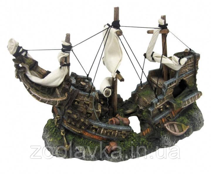 Декорация керам. Разбитый корабль на скалах 29,2*12,7*20см
