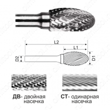 Борфрезы овальные (тип Е)