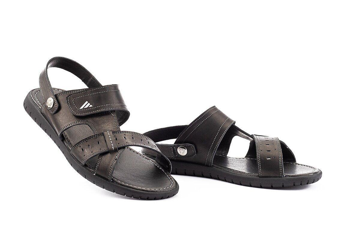 Мужские сандали кожаные летние черные Rivest Comfort Ш1