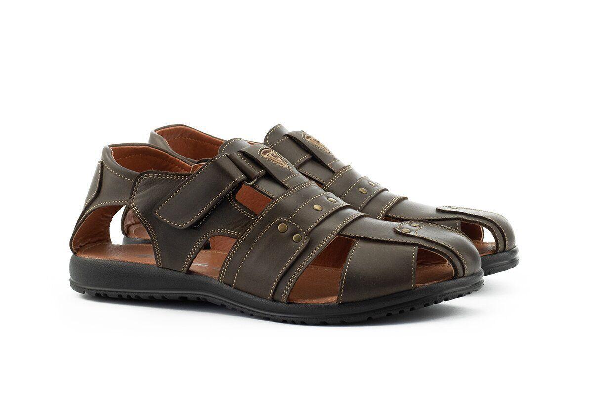 Мужские сандали кожаные летние коричневые Morethan Active Пр-1 шок