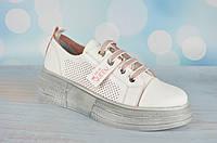 Белые женские мокасины на шнуровке Aquamarine Турция