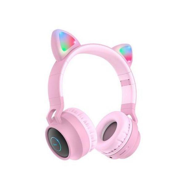 """Бездротові Bluetooth навушники Hoco W27 """"Котячі вушка"""" LED MP3 Pink"""