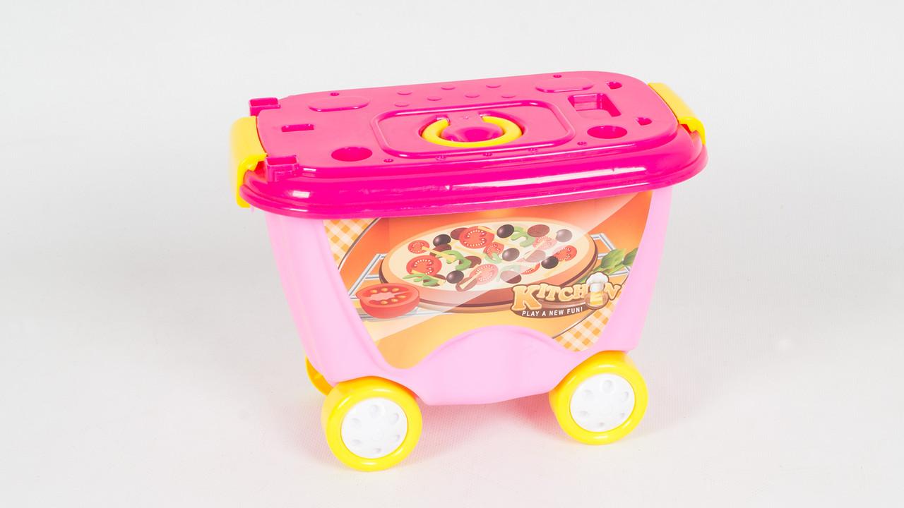 Детская тележка кухня 922-92. Посуда. Продукты