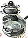 Набор посуды Benson BN-325 (8 предметов) мраморное покрытие | кастрюля с крышкой | кастрюли | сковорода Бенсон, фото 3