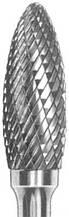 Борфреза твердосплавная пламевидная (тип Н)  6 мм хвостовик 6 мм перекрестная насечка