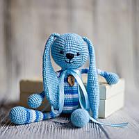 """Вязаная игрушка """"Голубой Зайчик - длинные ушки"""", фото 1"""