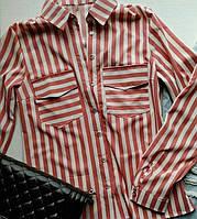 Рубашка Классик Цветная полоска Розовая