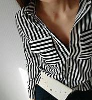 Рубашка Классик Цветная полоска Черная