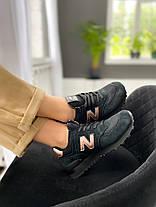 Женские кроссовки New Balance 574 Black/Gold, фото 3