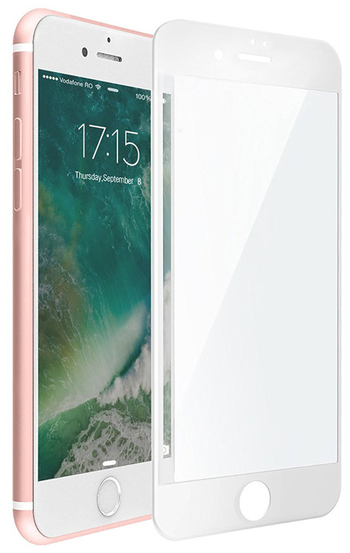 Защитное стекло 9D для Iphone 8 Белое  Premium качество