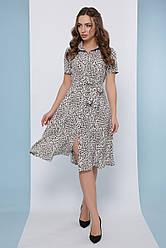 Платье рубашка летнее среднее бежевое миди, супер Софт, с поясом в комплекте. Размеры 46, 48, 50, 52