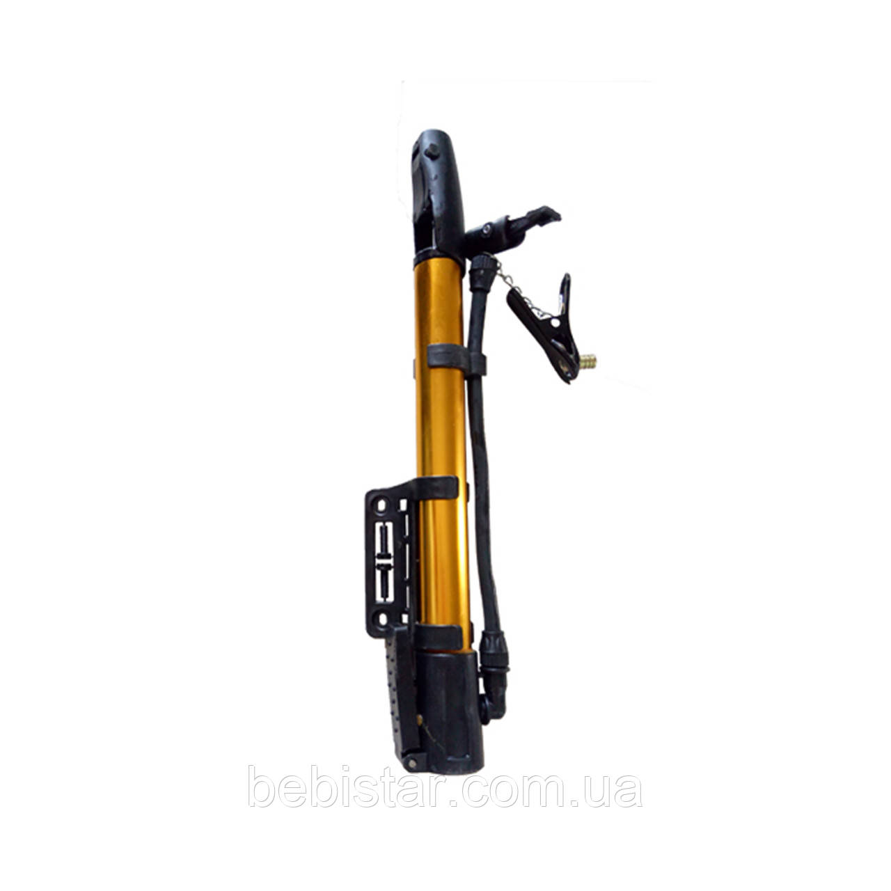 Универсальный ручной насос предназначен для надувания колес велосипедов и колясок, мячей, надувных изделий Золотой