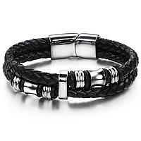 """Мужской кожаный браслет """"Импульс"""" со стальными вставками, цвет серебристый,  размеры 20,5 и 22"""