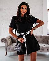 Летнее платье-туника Черное S(42-44)