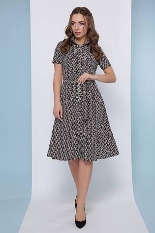 Платье рубашка летнее среднее черно-белое миди, супер Софт, с поясом в комплекте. Размеры 46, 48, 50, 52, фото 2