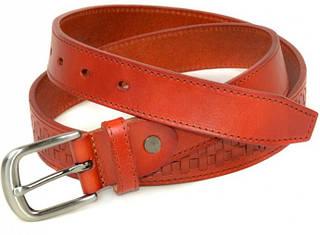 Женский кожаный ремень 5154 red красный ДхШ: 110х3 см.