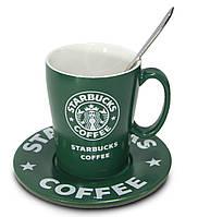 🔝 Керамическая чашка Starbucks (Зеленая) набор старбакс + блюдце + ложечка с доставкой по Украине  | 🎁%🚚
