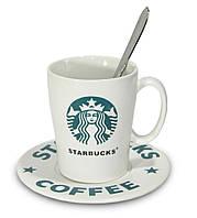 🔝 Набор Starbucks - керамическая чашка (Белая) + блюдце + ложечка | старбакс с доставкой по Украине  | 🎁%🚚
