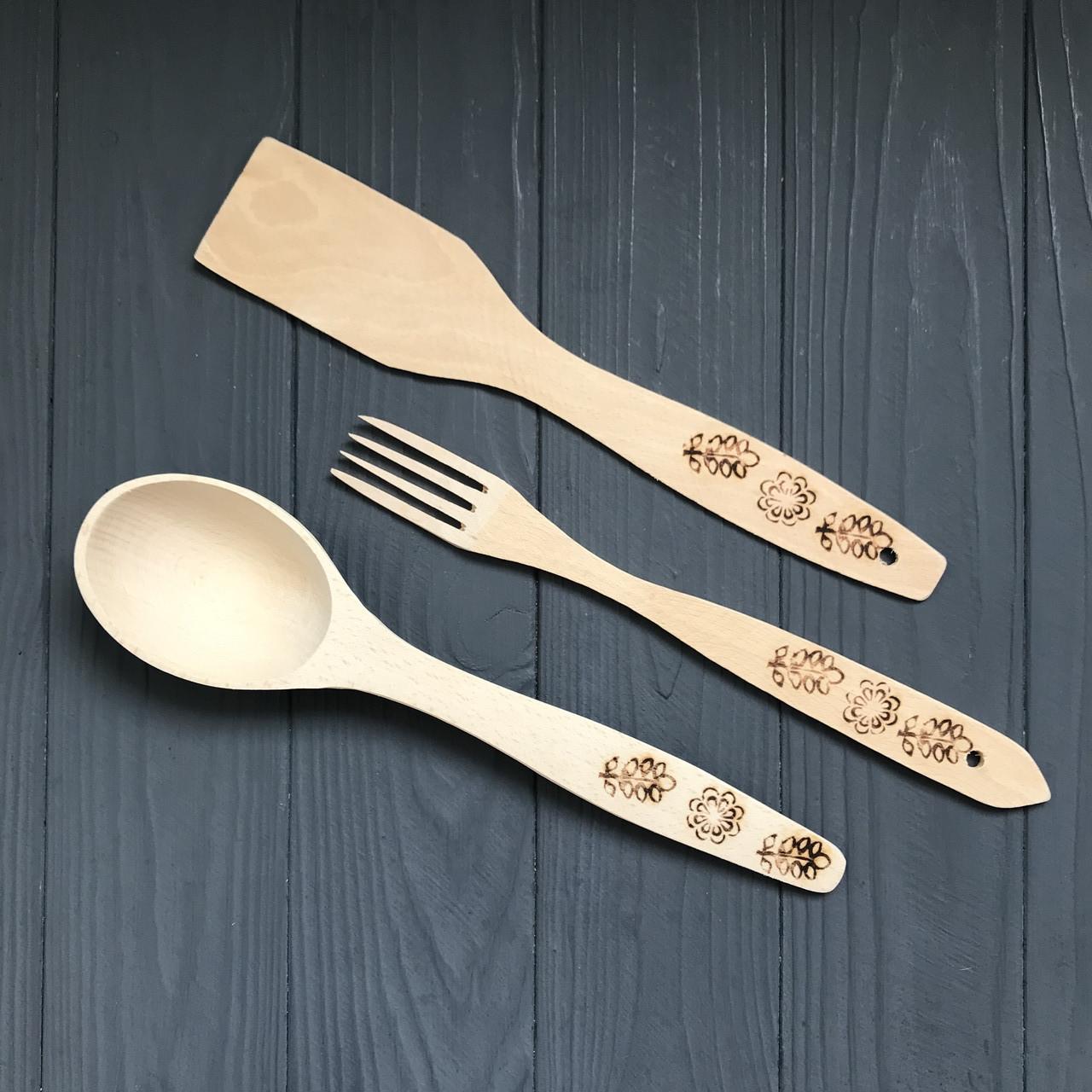 Набор деревянных приборов (лопатка, ложка, вилка), длина: 26 см