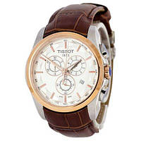 Годинник TISSOT T-Classic Couturier Chronograph 42mm Brown/Gold/White Replica: AAA