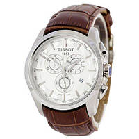 Годинник TISSOT T-Classic Couturier Chronograph 42mm Brown/Silver/White Replica AAA