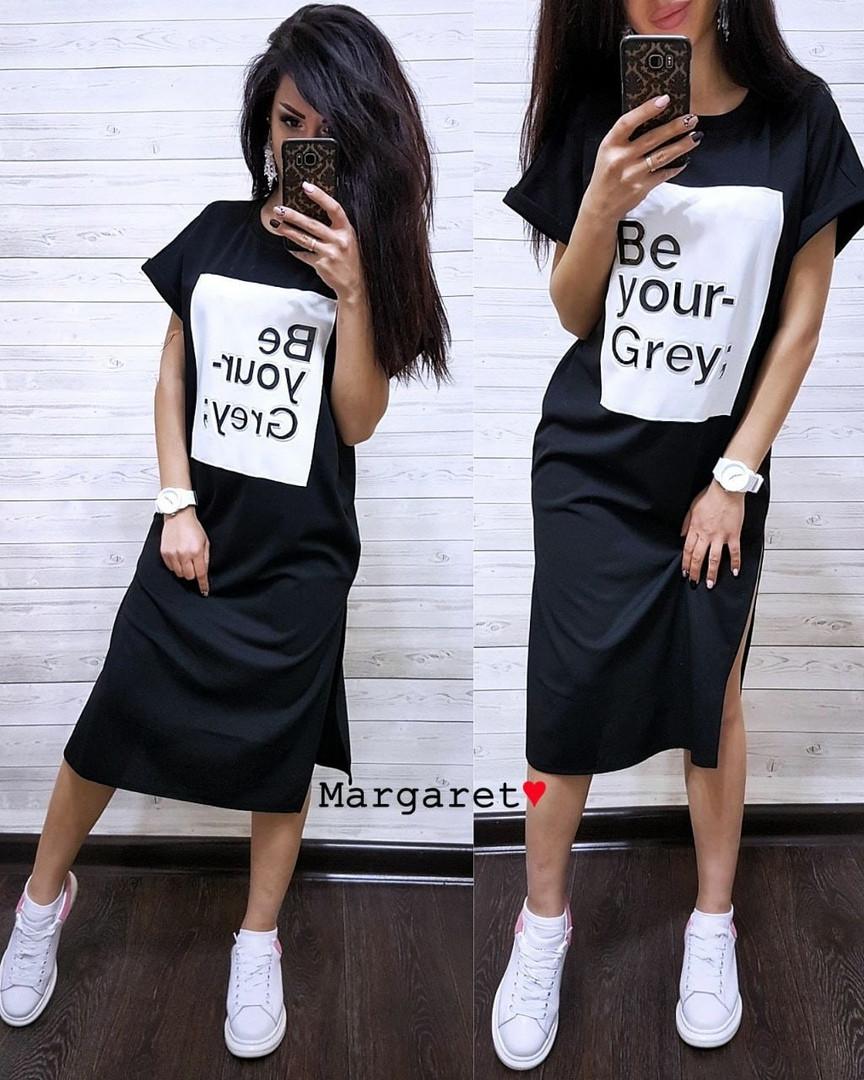 Стильное женское платье-миди, черного цвета