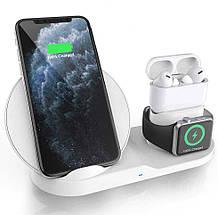 Беспроводная зарядка для телефона iPhone/наушников AirPods/часов Apple Watch Fast Charge с адаптером Qualcomm