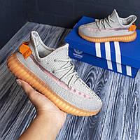 Adidas Yeezy Boost 350 серые с оранжевым  адидас изи кроссовки женские кросовки кеды