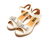 Туфли Fashion A02(32-37)бел.золото каблук, фото 3