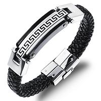 """Кожаный браслет """"Античный"""" со вставками из нержавеющей стали, цвет серебристо-черный"""