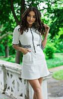 С1815 Короткое белое летнее платье в морском стиле