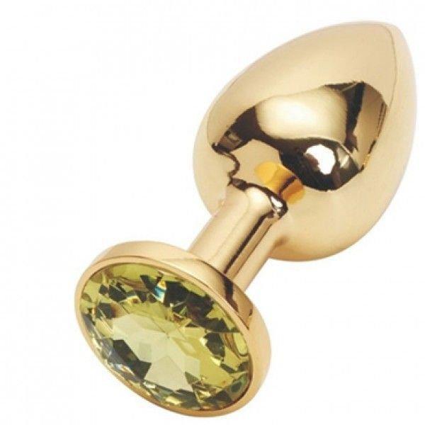 Золота анальна пробка з жовтим кристалом, середня