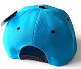 Кепка реперка с прямым козырьком (54-55 см) голубая, фото 2