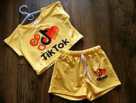 Летний костюм шорты и топ для девочки 116 - 152 Детский костюм лайк тикток