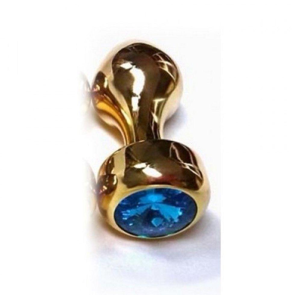 Золотая анальная игрушка с синим камушком