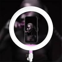Кольцевая лампа LED Ring Fill Life 26см розовая с гибким держателем для телефона (селфи кольцо)