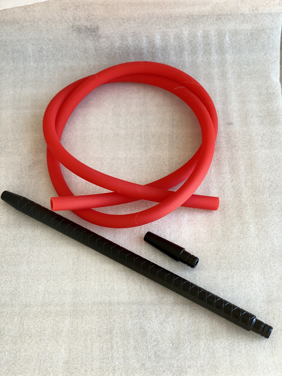 Трубка для Кальяна King | Силиконовый Шланг Soft Touch + Мундштук и коннектор | Черный мундштук+красный шланг