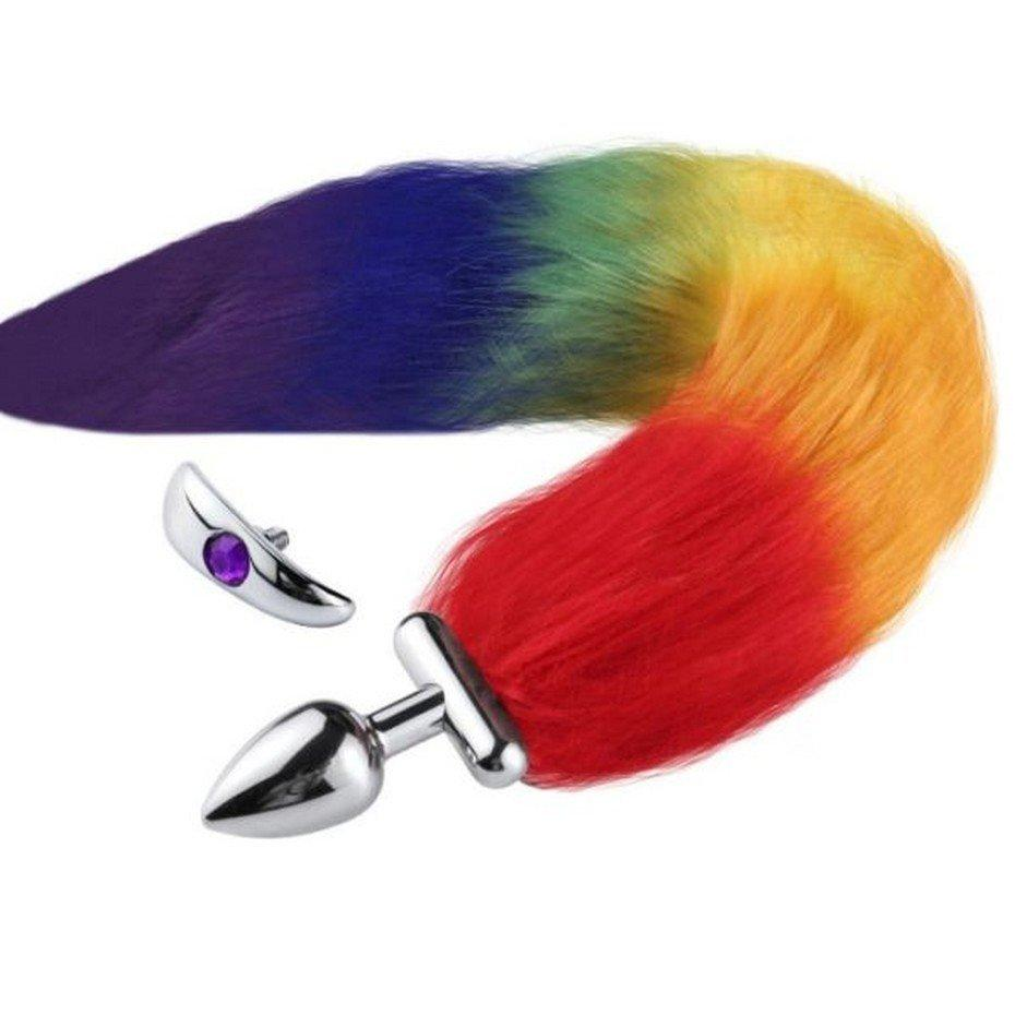 Deformable Fox Tail Metal Anal Plug Multicolor