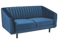 Дизайнерский вельветовый диван на деревянных ножках с низкой спинкой, синий