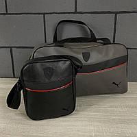 Комплект сумка Puma серая + барсетка Puma, фото 1