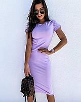 Женское летнее платье ниже колен с коротким рукавом